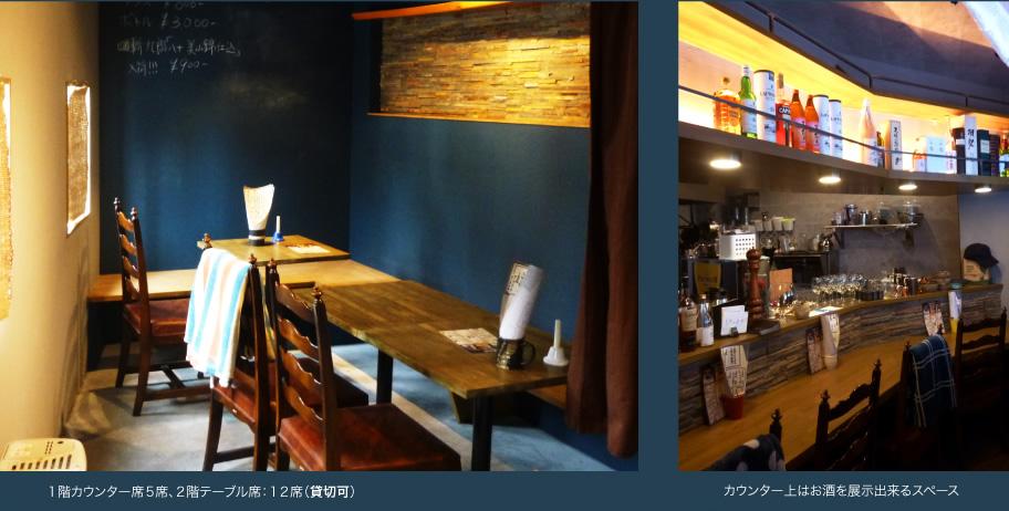 1階カウンター席5席、2階テーブル席:12席(貸切可)カウンター上はお酒を展示出来るスペース